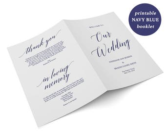 Navy Booklet Program - Folded Wedding Program Download - Wedding Ceremony - Navy Blue - Editable PDF - 2 Sided 5.5 x 8.5 inches - GD4409