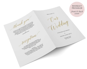 Gold Foil Program - Booklet Program Template - Wedding Ceremony - Folded Gold Program  PDF - Instant Download - 8.5 x 5.5 inches - #GD3413