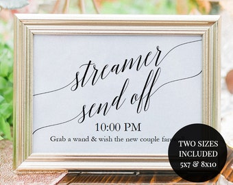 Streamer Send Off Sign - Printable Send Off Sign Template - Instant Download - Editable PDF - 5x7 and 8x10 inches- Ribbon Send Off - #GD0525