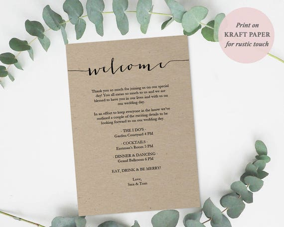 DIY Template Kraft Menu #GD1903 Welcome card printable Editable PDF Welcome Favor Card Calligraphy style script 5x7 inches