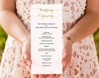 Gold Wedding Program Printable - Instant Download - Editable PDF Program Template - DIY Wedding Ceremony - Double sided 4x9 inches - #GD1404