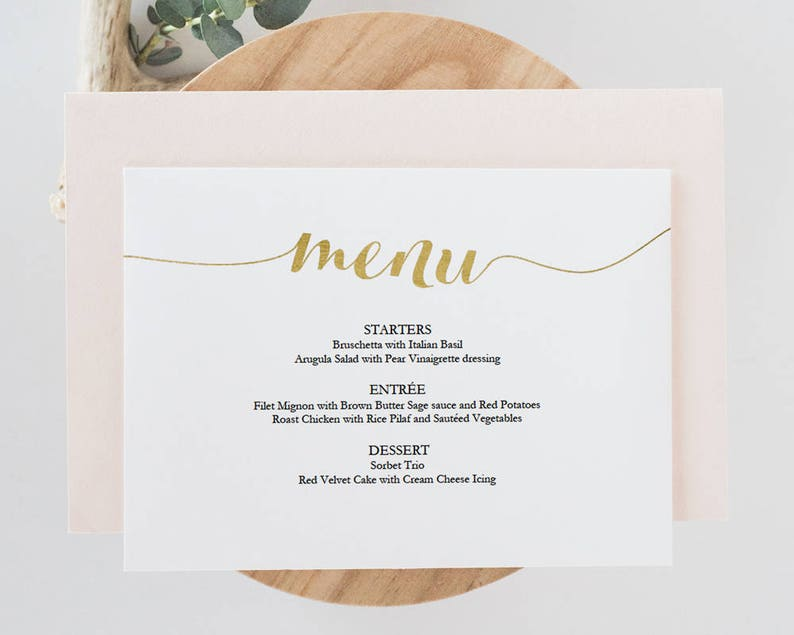 Gold Menu Card Download #GD1401 Instant Download Printable menu Gold foil menu Wedding Menu Editable PDF 5x7 inches landscape