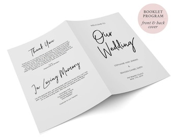 Printable Booklet Program - DIY Editable PDF - Folded Program - Wedding Ceremony Template-Instant Digital Download - 5.5x8.5 inches- #GD0214