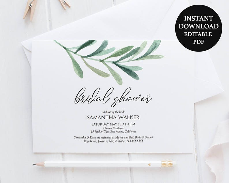 INSTANT DOWNLOAD Printable Diamond Ring Bridal Shower Invitation 5x7 Editable Text
