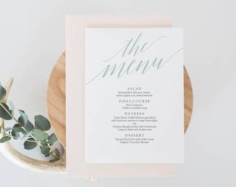 Mint Menu Template Download - 5 x 7 inches - Mint Green Calligraphy Style Script - Editable PDF Menu Template - Instant Download - #GD3601