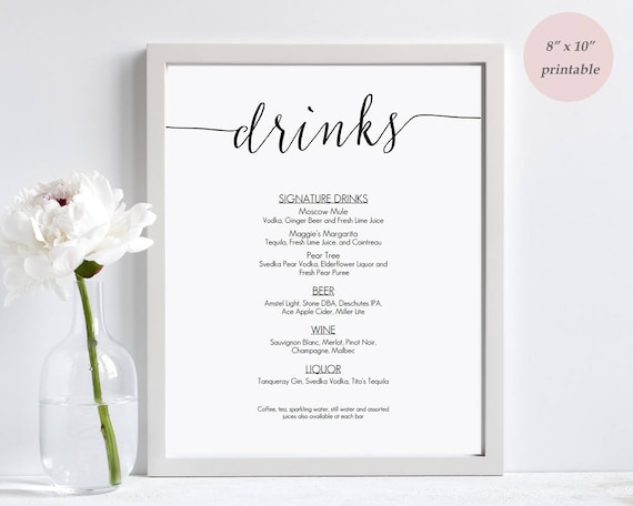 drinks menu template printable wedding bar sign editable etsy