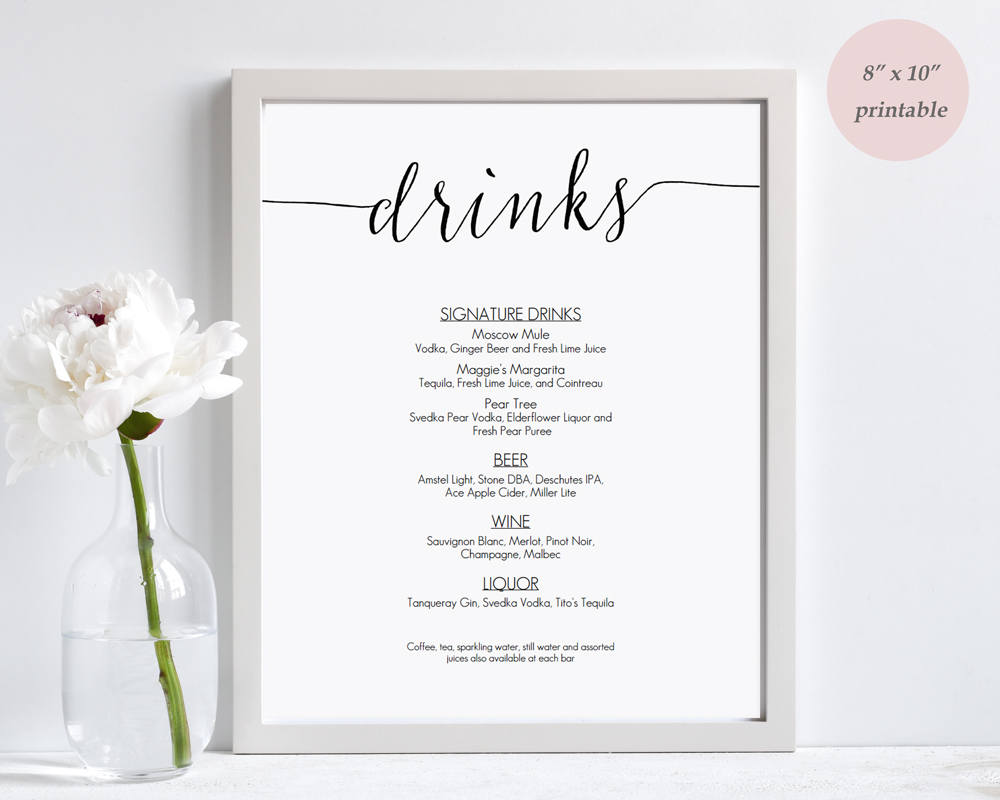 Terrible image inside free printable drink menu template