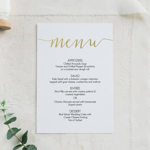 Gold Menu Card Download Printable menu Gold foil menu 5x7 inches landscape Editable PDF #GD1401 Wedding Menu Instant Download