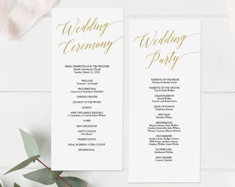 Printable Gold Wedding Program - Gold Foil Elegant Minimalist - Wedding Ceremony Program - Editable PDF - Double Sided 4x9 inches - #GD3404
