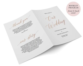 "Rose Gold Booklet Program - Folded Program Rose Gold Foil - Instant Download - Wedding Ceremony Program folded PDF - 8.5"" x 5.5"" - #GD3703"