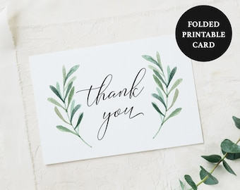 Greenery Folded Thank You Card Printable - Olive Leaf - Green Eucalyptus - Printable PDF - A2 - 4.25 x 5.5 inches Instant Download - #GD3834