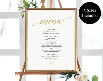 Printable Gold Menu Poster - Gold Foil Wedding - Buffet Menu Template - Menu Template -11x14, 16x20, 18x24 - Instant Download Menu - #GD3425