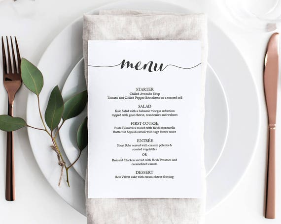 Wedding Menu Template Printable Fashion Script Font Wedding Menu Template 5x7 Editable PDF Instant Download Digital Download