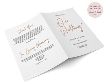 Rose Gold Folded Wedding Program - Booklet Double sided - Printable Wedding Ceremony Template - Instant Download - 5.5 x 8.5 inches -#GD0416