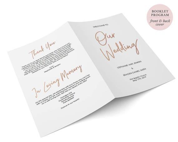 rose gold folded wedding program booklet double sided etsy