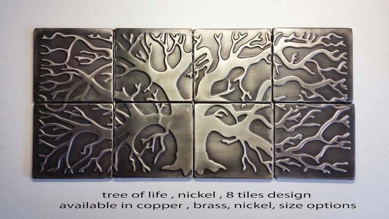 Backsplash kitchen tiles, tree of life , 8 metal tiles