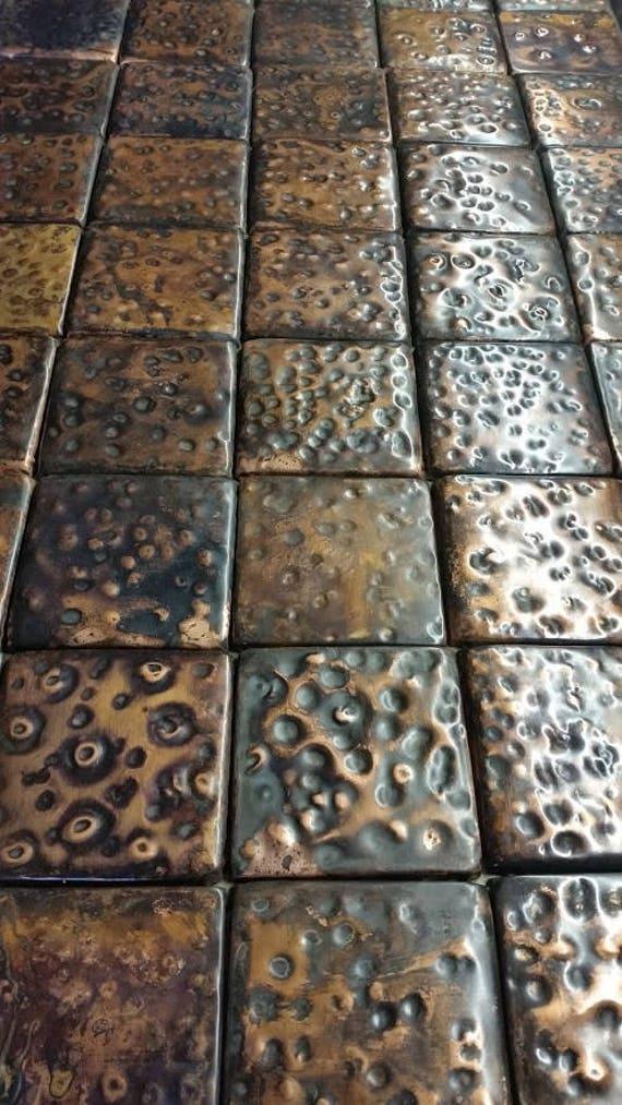 Gehämmert Kupfer von Hand gehämmert Metalle Fliesen Sie SET | Etsy