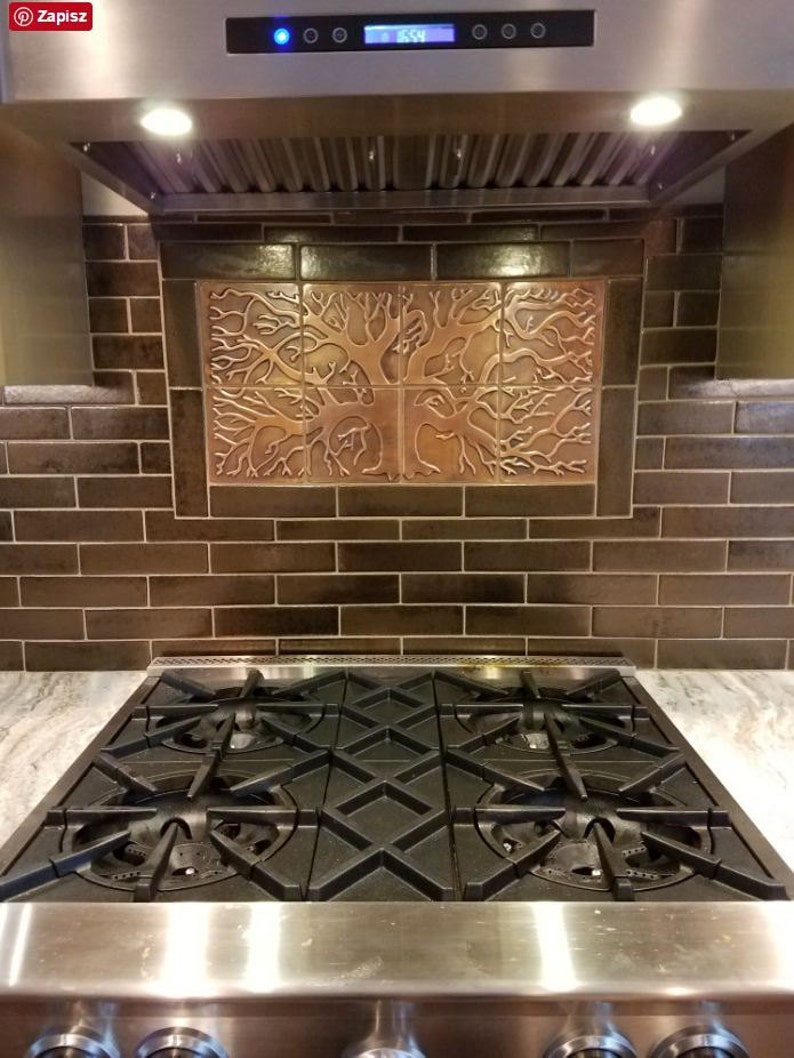 Copper Tiles Kitchen Backsplash 8 Metal Tiles