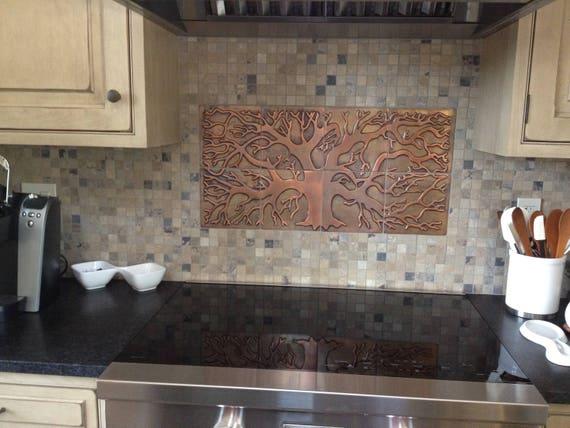 Copper tiles, kitchen backsplash, 8 metal tiles
