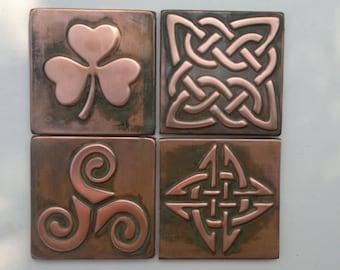 Celtic tiles, celtic symbols, Set of 4 copper celtic  tiles , Celtic decor, celtic shamrock, triskel, celtic knot, copper decor, accent tile