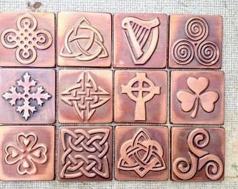 Celtic tiles, celtic designs, Set of 4 copper celtic  tiles , Celtic decor, celtic shamrock, triskel, celtic knot, copper decor, accent tile