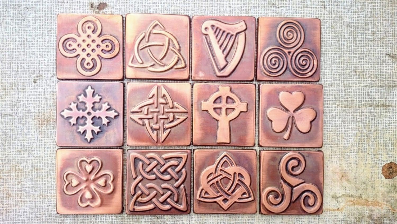 Keltische Fliesen keltischen Mustern Satz von 4 Kupfer | Etsy