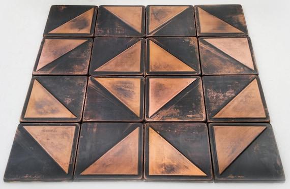 Kupfer Küche Dunkelbraune Patina Kupfer SET Von 16 Fliesen | Etsy