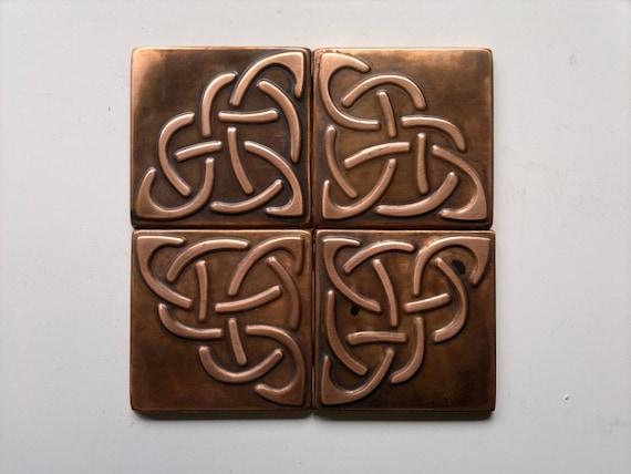 Set Of 4 Metal Tiles Celtic Tiles Celtic Tile Backsplash Etsy