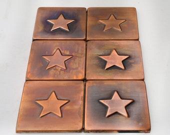 Backsplash tiles , Set of 6 brown patinated copper  tiles , unique copper decors for you wall,copper kitchen decor