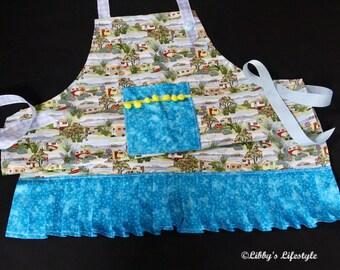 Vintage caravans Women's apron - Handmade baking apron - Full Cooking apron - Vintage style apron - Retro style apron - Kitchen apron.