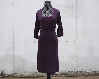 90s Vintage Dress | Purple Dress | Spring Dress Summer | Medium Dress M | Size 8 Dress | Simple Dress with Sleeves | 90s Minimalist Dress