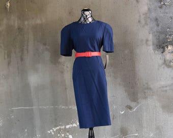 80s Vintage Dress | Blue Dress | Simple Dress | 80s Power Dress | Secretary Dress | NOS Dress | Medium Dress M | Size 8 Dress | 80s Theme