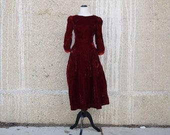 80s Vintage Dress | Burgundy Dress | Red Velvet Dress | Cutout Dress | Open Back | Goth Dress | Small Dress S | Size 6 Dress | Formal Dress