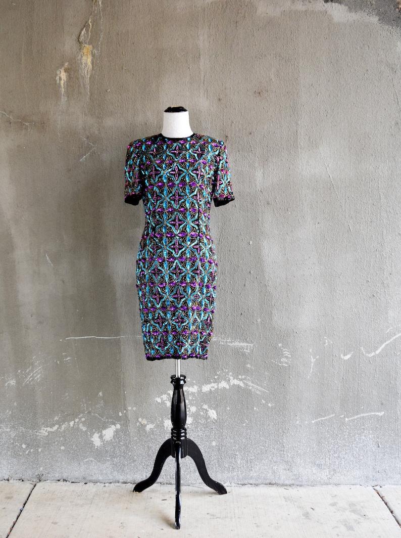 80s Prom Dress Black Beaded Dress Purple Dress 80s Theme  a913cd28b