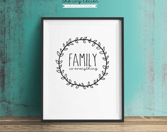 Family is Everything Inspirational Quotes, Typography Art, Digital Prints, Black and White Art Prints Wall Art Prints, Digital Download