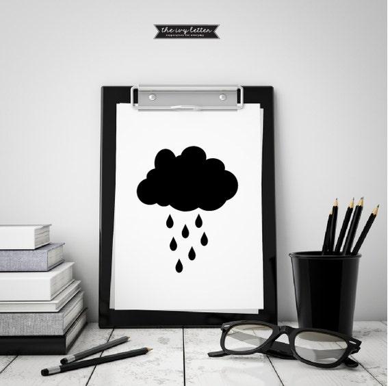 Nube escandinavo cartel para imprimir blanco y negro moderna | Etsy