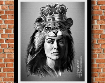 """Cersei """"The Lion Queen"""" Digital Painting Print, Game of Thrones"""