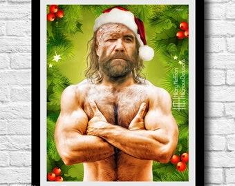 "Sandor ""The Hound"" Clegane ""MistleThrones: Sexy Santa"" Digital Painting Print, Game of Thrones"