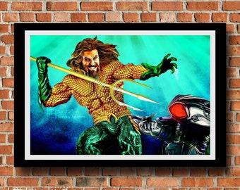 Aquaman VS. Black Manta Digital Painting Print