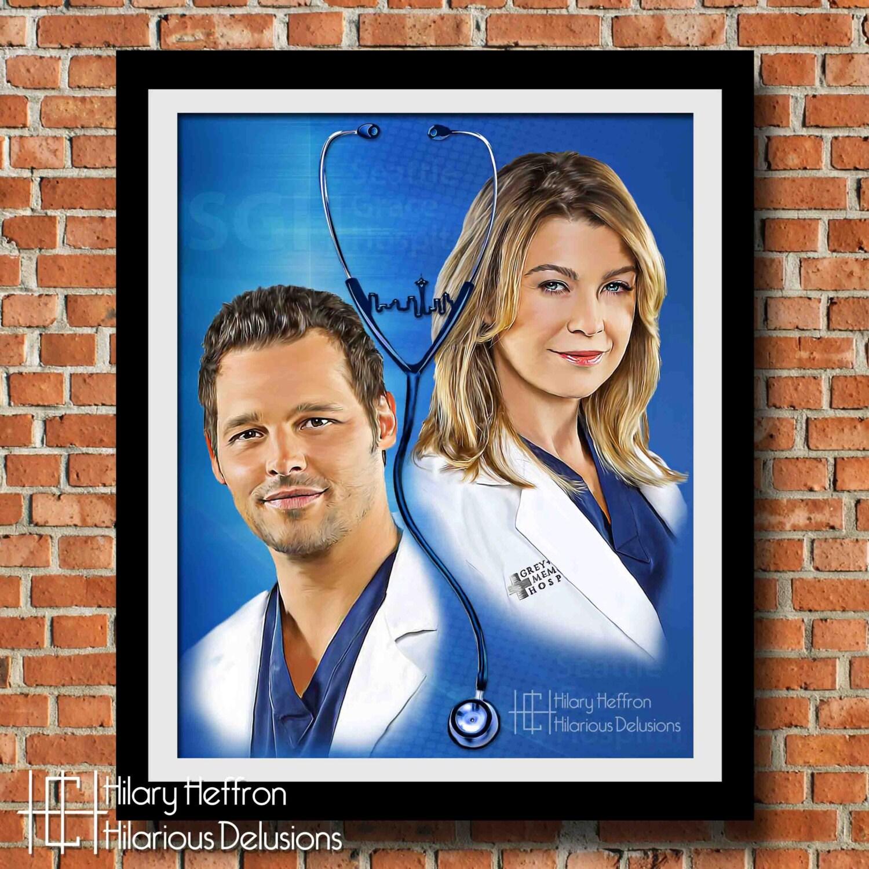 Meredith y Alex amistad pintura Digital Print anatomía de | Etsy