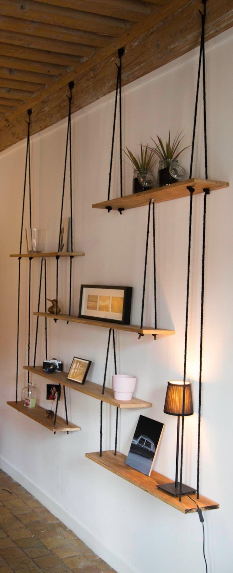 Suspended Oak shelves-Hanging shelves-suspended oak  Custom. image 0