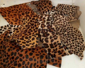 """Brown and Off White Cheetah Print Leather Hair on Cow Hide 8/"""" x 10/"""" Pre-cut-1"""