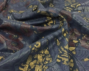 Genuine Lambskin Leather Floral Hawaiian Print Navy/metallic Gold VM041118-02