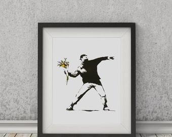 Flower Thrower (Portrait) by Banksy Art Print