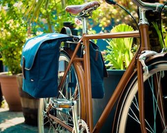 Bicycle Pannier / Bike Pannier / Bicycle Bag / Pannier Bag / Blue Canvas Panniers / Bike Bag