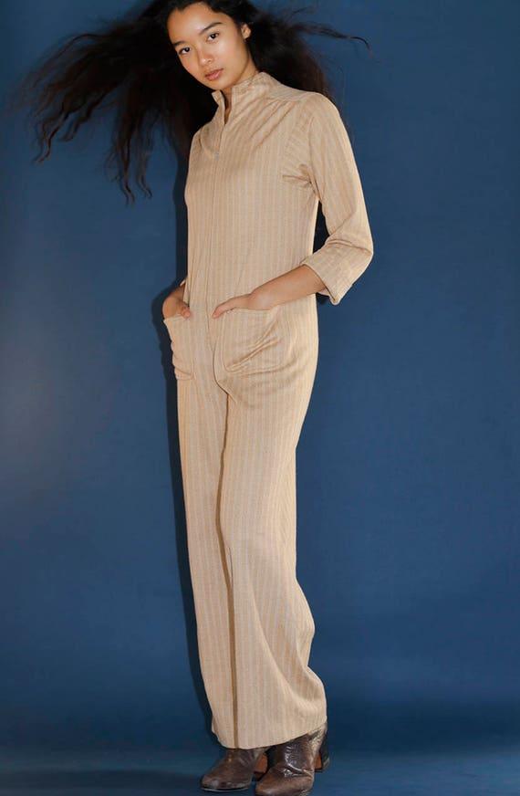 Vintage 70's Striped Minimalist Zip Front Camel Ju