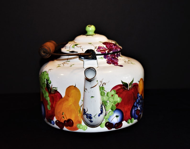 Pears Cherries Vintage Country Folk Art Kitchenware Plums Enamel Teapot with Hand Painted Fruit Country Enamelware Grapes Apples