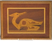 Woodwork Marquetry Wood Native Design Native Wood Art Original Wood Art Native Alaskan Wood Carving Picture of Loon 10 Different Woods