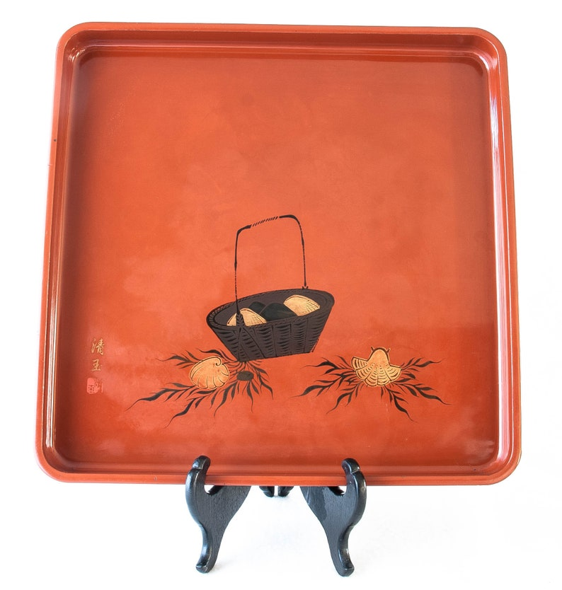 Antique Japanese Lacquer Tray, 14 25 Sq