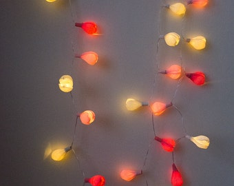 20 LED bulbs Flower garland, Battery lights, Wedding decor, Lights garland, Pink lights, White lights, Home decor.